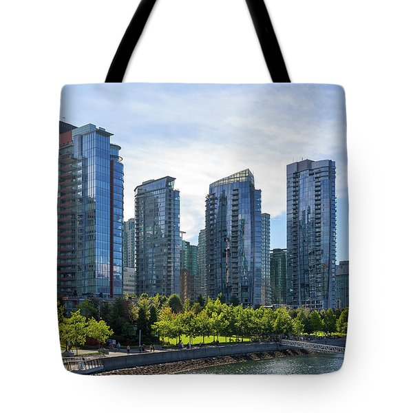 Condominium Waterfront Living In Vancouver Bc Tote Bag by David Gn