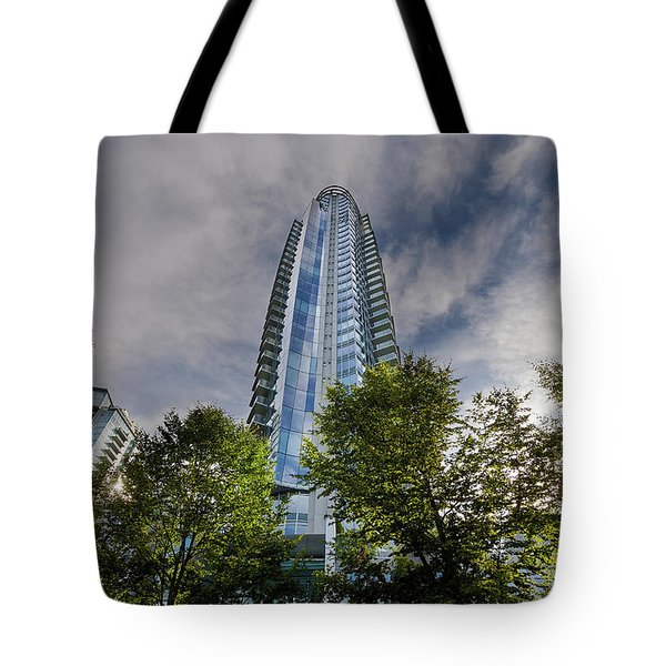 Condominiums Along Waterfront In Vancouver Bc Tote Bag by David Gn