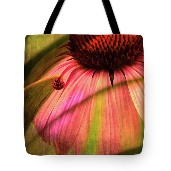 Cone Flower And The Ladybug Tote Bag