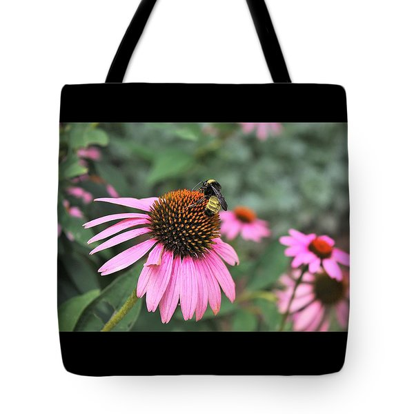 Tote Bag featuring the photograph Cone Flowers And Bee by Sheila Brown