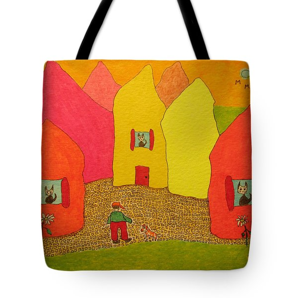 Cone-shaped Houses Man With Dog Tote Bag