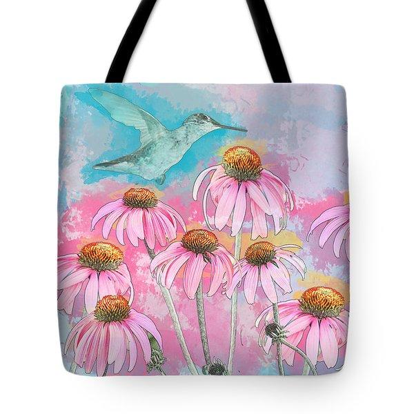 Coneflower Hummingbird Watercolor Tote Bag