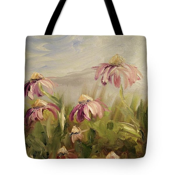 Tote Bag featuring the painting Coneflowers by Donna Tuten
