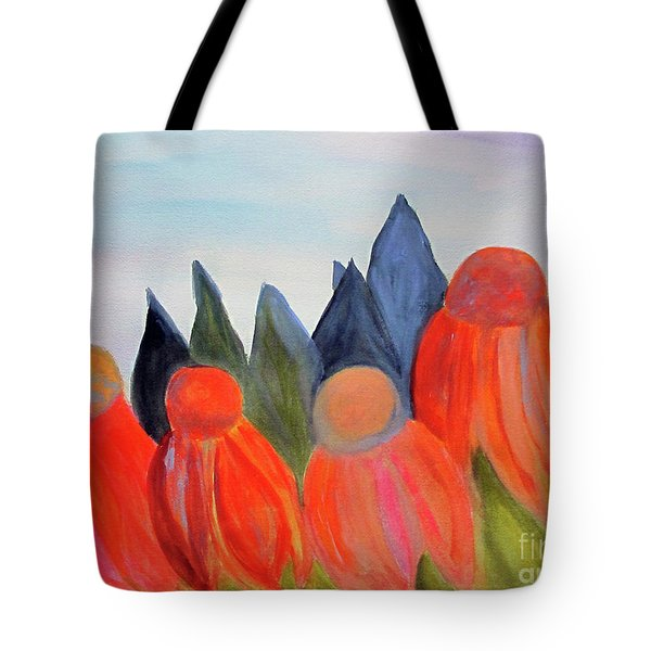 Tote Bag featuring the painting Coneflowers by Sandy McIntire