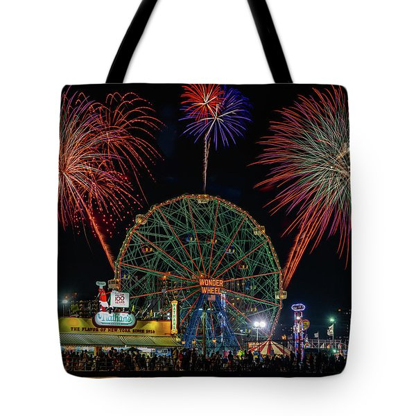 Coney Island At Night Fantasy Tote Bag