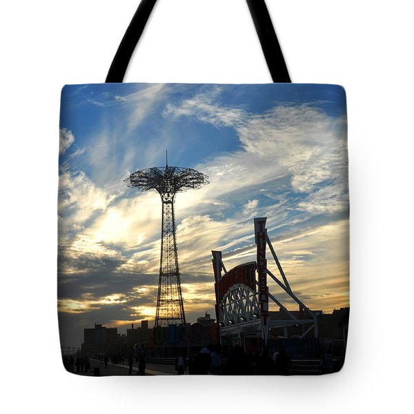 Coney Island Boardwalk At Sunset Tote Bag