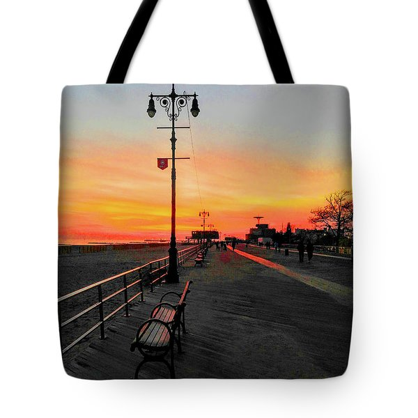 Coney Island Boardwalk Sunset Tote Bag