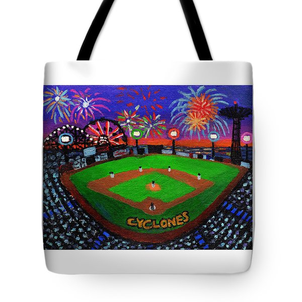 Coney Island Cyclones Fireworks Display Tote Bag
