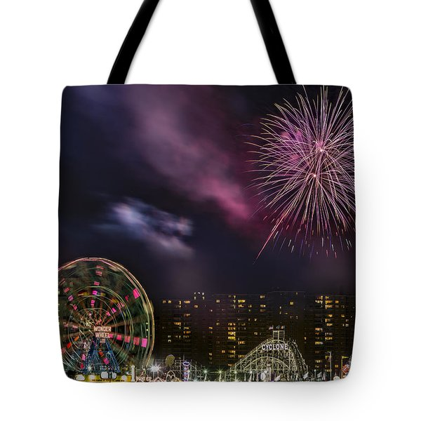 Coney Island Fireworks Tote Bag