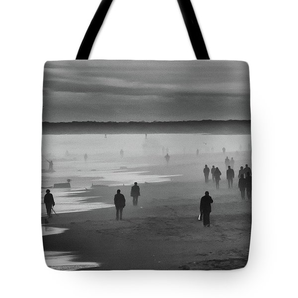Tote Bag featuring the photograph Coney Island Walkers by Eric Lake