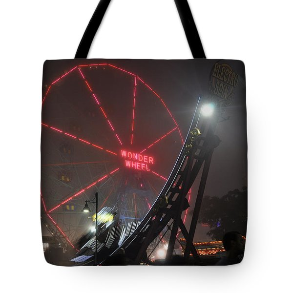 Coney Island Wonder Wheel In Fog Tote Bag