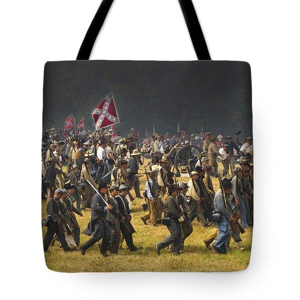 Confederate Charge At Gettysburg Tote Bag