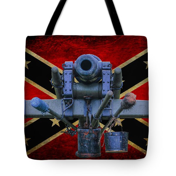 Confederate Flag And Cannon Tote Bag by Randy Steele