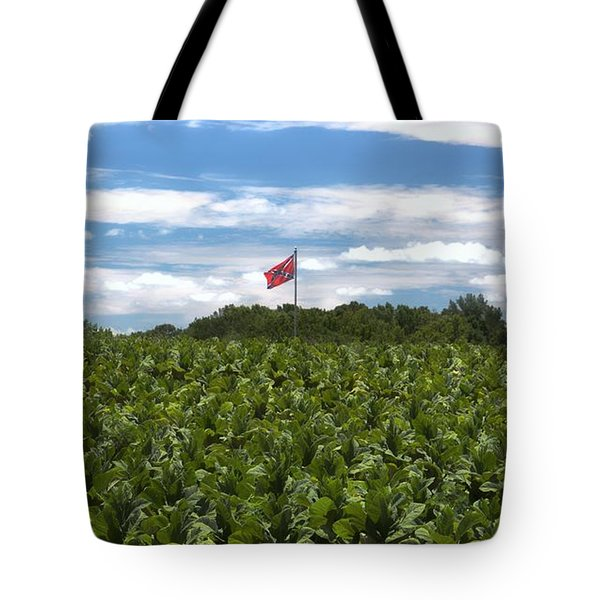 Confederate Flag In Tobacco Field Tote Bag