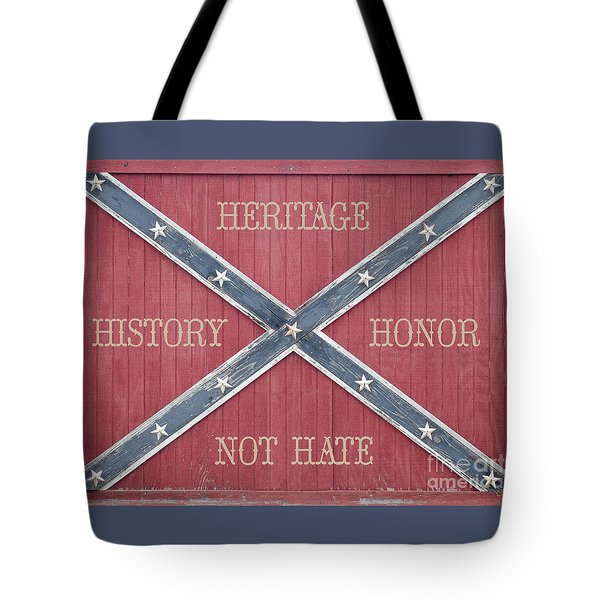 Confederate Flag On Wooden Door Tote Bag