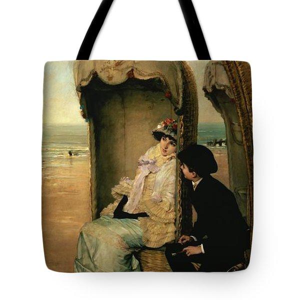 Confidences On The Beach Tote Bag by Vincente Gonzalez Palmaroli