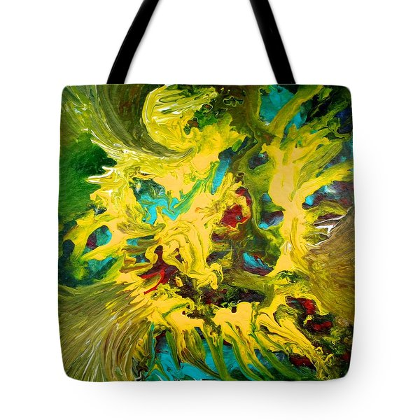 Tote Bag featuring the painting Confrontation by Polly Castor