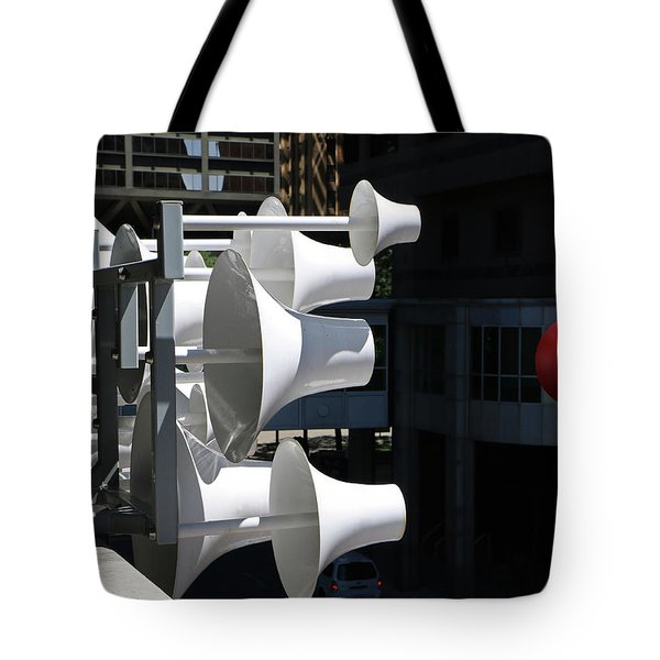 Tote Bag featuring the photograph Conical Sculpture Stranger by Christopher McKenzie