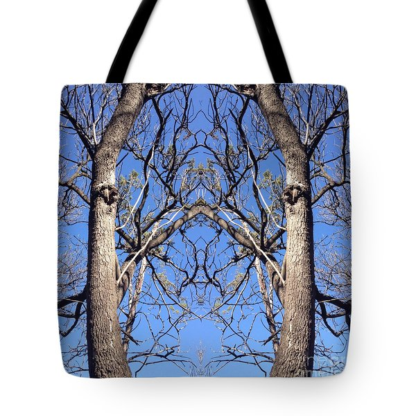 Conjoined Tree Collage Tote Bag by Nora Boghossian