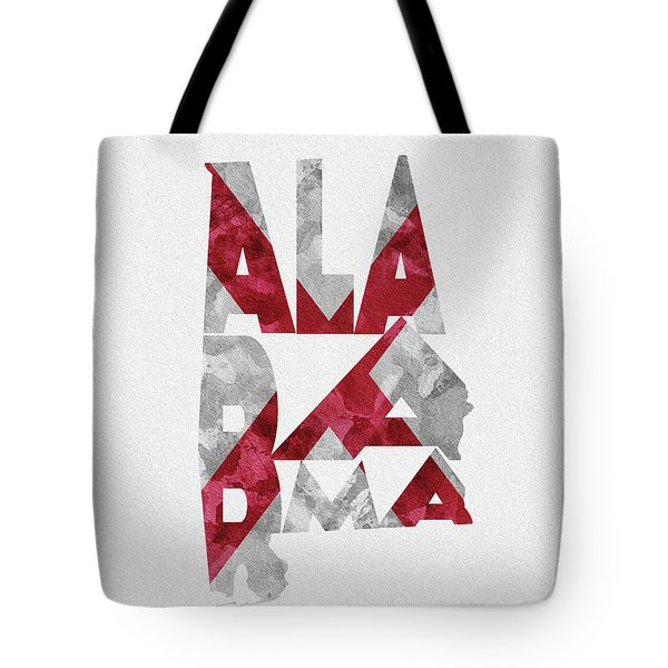 Tote Bag featuring the painting Alabama Typographic Map Flag by Inspirowl Design
