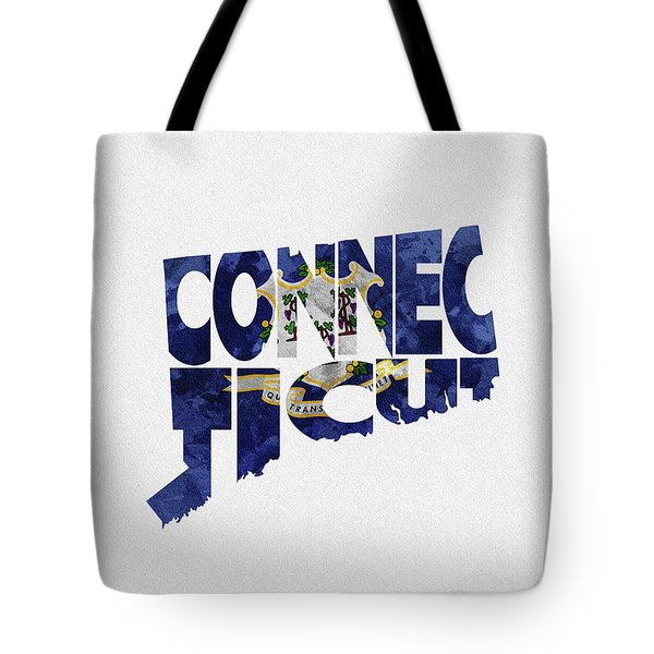 Connecticut Typographic Map Flag Tote Bag