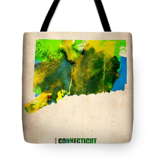 Connecticut Watercolor Map Tote Bag by Naxart Studio