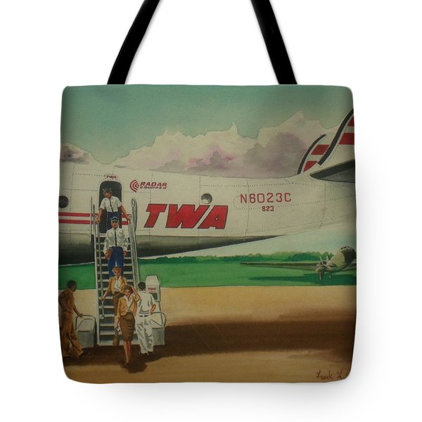 Connie Crew Deplaning At Columbus Tote Bag by Frank Hunter