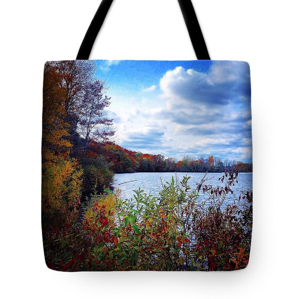 Conservation Park And Pine River In The Fall Tote Bag