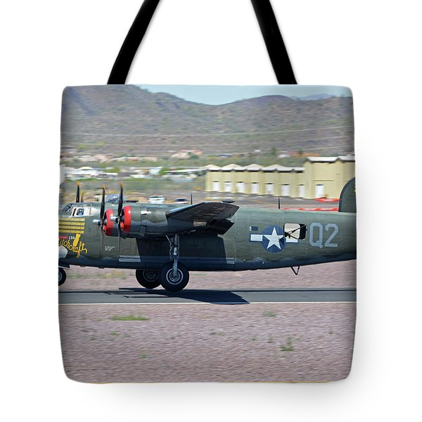 Tote Bag featuring the photograph Consolidated B-24j Liberator N224j Witchcraft Deer Valley Arizona April 13 2016 by Brian Lockett