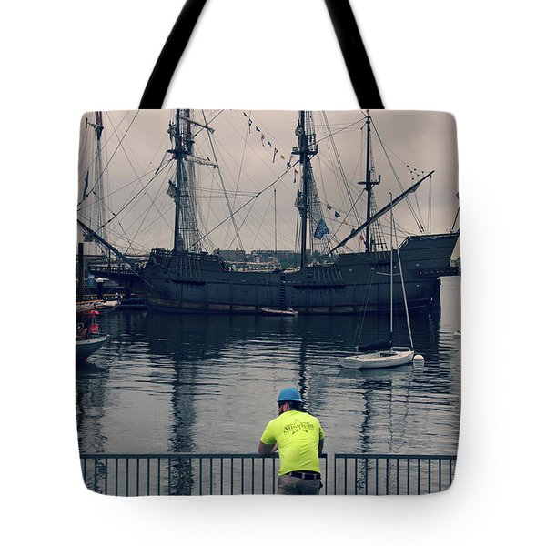 Tote Bag featuring the photograph Construction Break On Boston Harbor by Joann Vitali