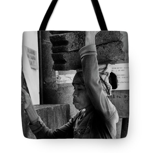 Tote Bag featuring the photograph Construction Labourer - Bw by Werner Padarin
