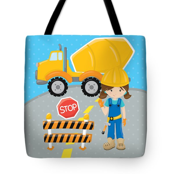 Construction Zone - Concrete Truck Roadwork In Progress Gifts #16 Tote Bag by Life Over Here