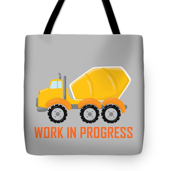 Tote Bag featuring the digital art Construction Zone - Concrete Truck Work In Progress Gifts - Grey Background by Life Over Here