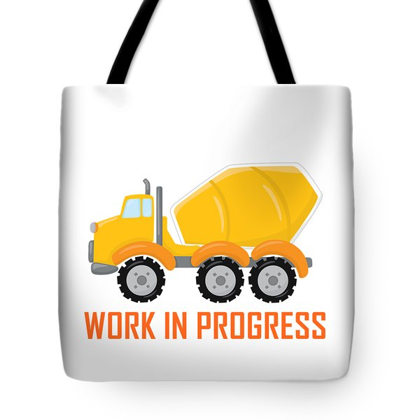 Tote Bag featuring the digital art Construction Zone - Concrete Truck Work In Progress Gifts - White Background by Life Over Here