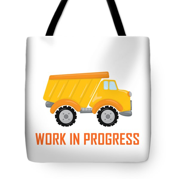 Tote Bag featuring the digital art Construction Zone - Dump Truck Work In Progress Gifts - White Background by Life Over Here