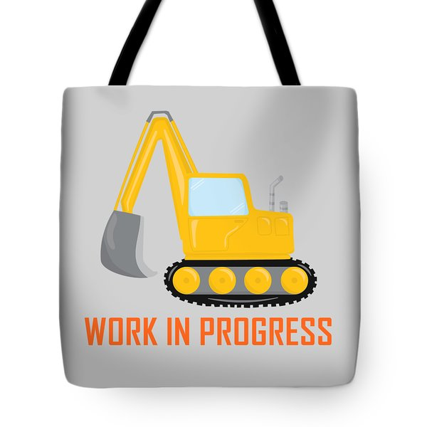 Construction Zone - Excavator Work In Progress Gifts - Grey Background Tote Bag by Life Over Here