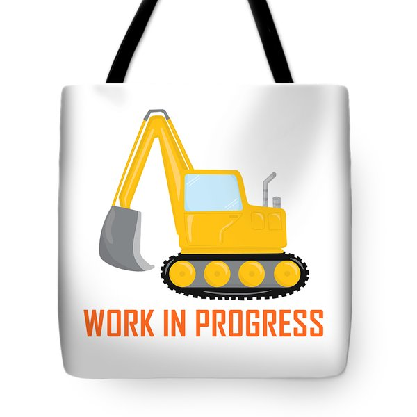 Tote Bag featuring the digital art Construction Zone - Excavator Work In Progress Gifts - White Background by Life Over Here