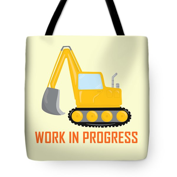 Tote Bag featuring the digital art Construction Zone - Excavator Work In Progress Gifts - Yellow Background by Life Over Here