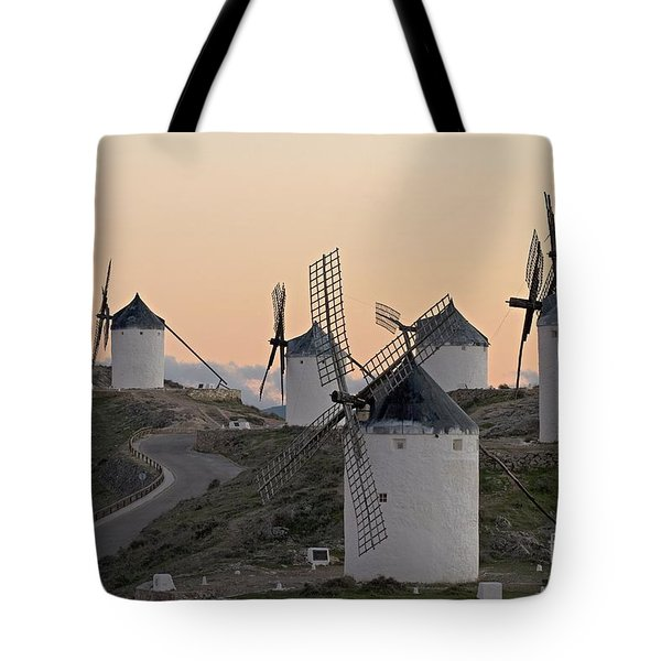 Tote Bag featuring the photograph Consuegra Windmills by Heiko Koehrer-Wagner
