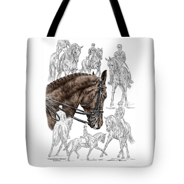 Contemplating Collection - Dressage Horse Print Color Tinted Tote Bag
