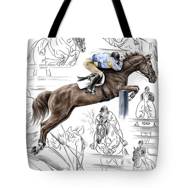 Contemplating Flight - Horse Jumper Print Color Tinted Tote Bag