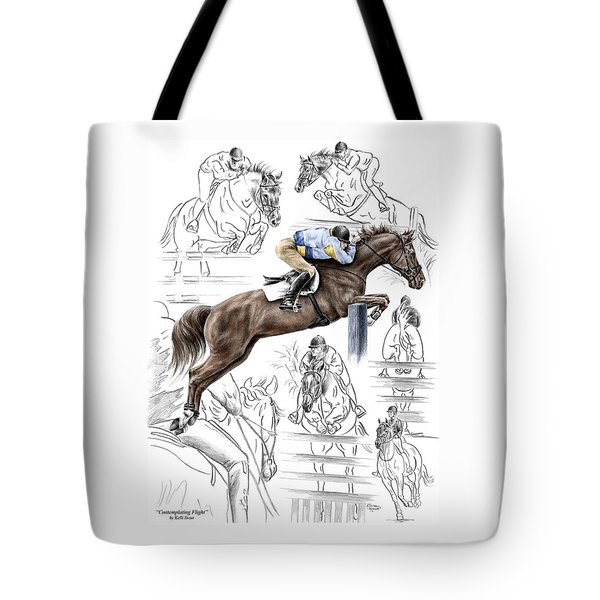 Contemplating Flight - Horse Jumper Print Color Tinted Tote Bag