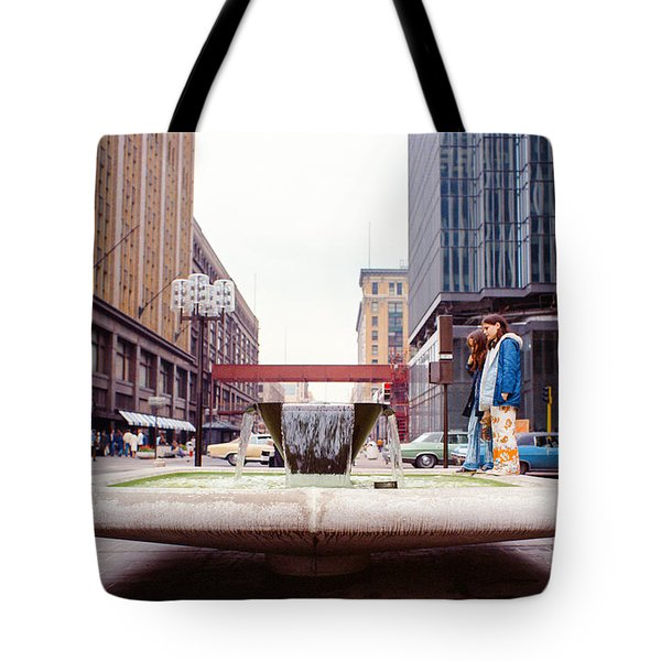 Contemplating The Fountain At 8th And Nicollet. Tote Bag