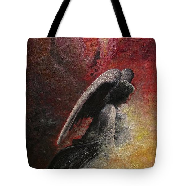 Tote Bag featuring the painting Contemplative Angel by Mary Ellen Frazee