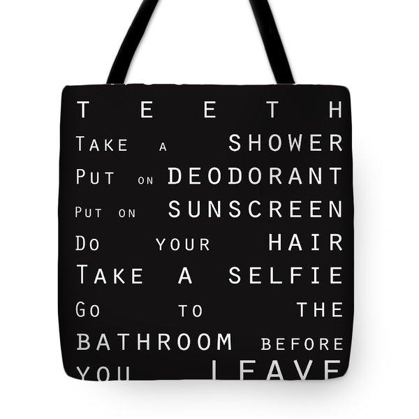 Contemporary Bathroom Rules - Subway Sign Tote Bag