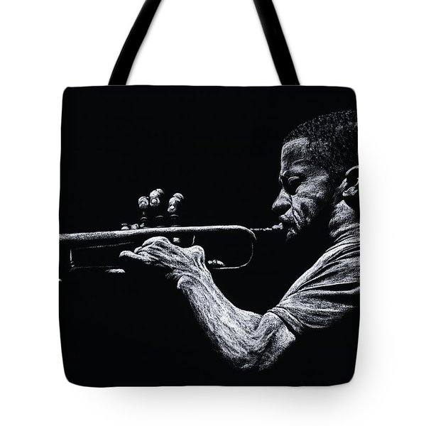 Contemporary Jazz Trumpeter Tote Bag by Richard Young