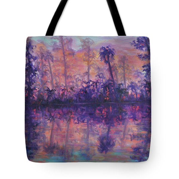 Contemporary Nature Painting Tropical Lake Sunset Tote Bag