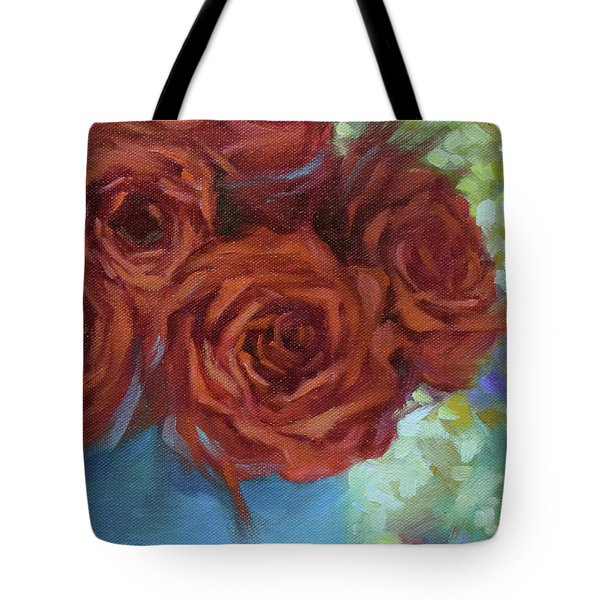 Contemporary Red Roses With Confetti Background Tote Bag