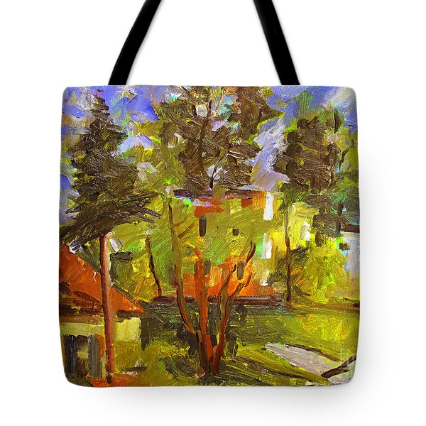 Tote Bag featuring the painting Converse Corner Plein Air Framed by Charlie Spear