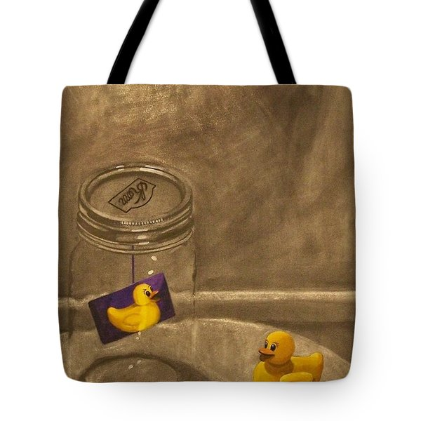 Conversing Ducks Tote Bag
